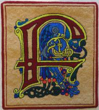 Celtic letter F; hooked by Jane Lessel