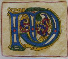 Celtic letter M; hooked by Jean MacDonald